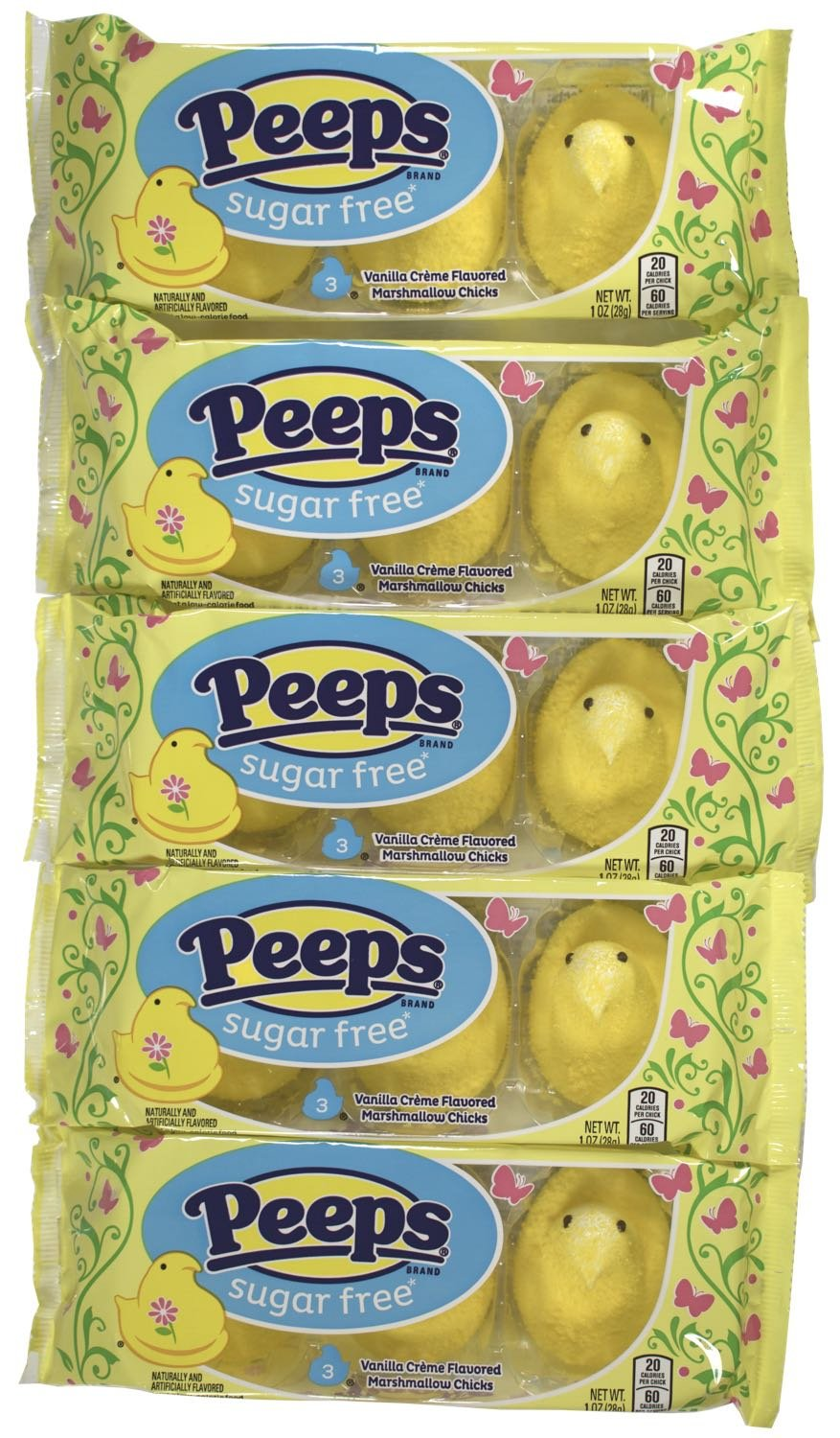 Peeps Sugar Free Marshmallow Chicks, 3 Chicks per Package, Set of 5 Packages