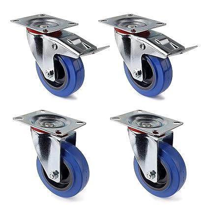 Juego de 4 Ruedas Giratorias de Mueble Ø 100 mm ruedas pivotantes con Freno de (