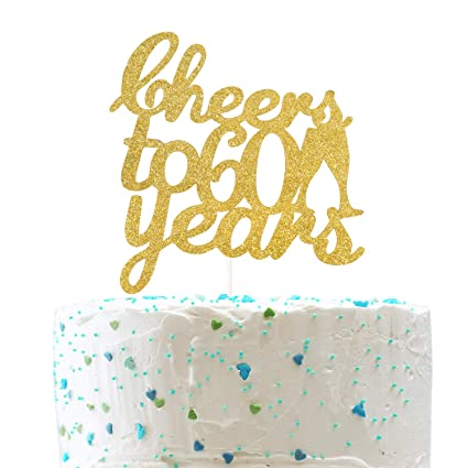 60th Anniversary Sixtieth Birthday Gold Glitter 60 Cake Topper