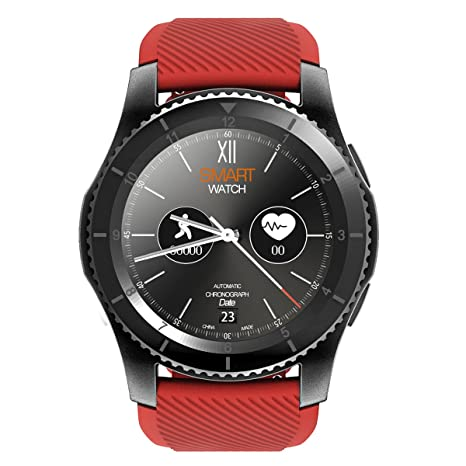 Kivors reloj inteligente, Bluetooth Smartwatch Fitness Rastreador con pantalla táctil/podómetro para Android & iOS teléfono inteligente (Rojo)