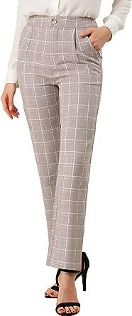 Allegra K Women's Casual Plaid Trousers Pockets Straight Leg Work Office Pants