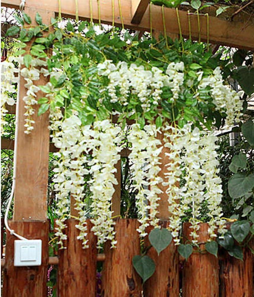 Vidillo Flores Artificiales Plantas 12 Piezas 110 cm Wisteria ...