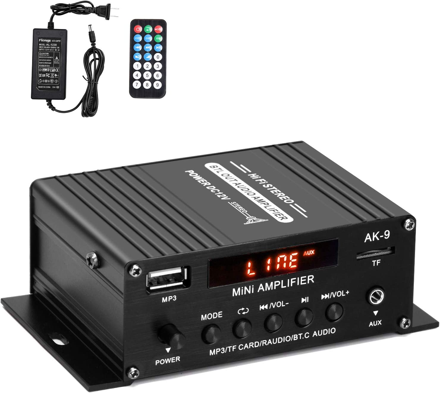 Facmogu AK9 Bluetooth Power Amplifier, Digital Power Audio Amplifier with 12V 3A Power Supply, Home Audio Player Amp Speaker with Remote Control