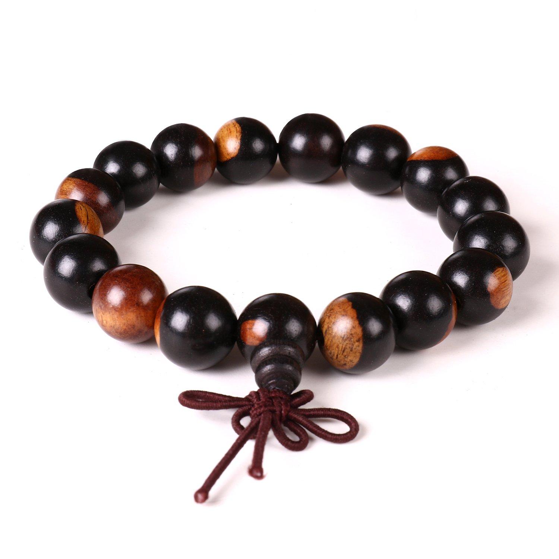 12mm Bracelet Bois naturel Bois de santal Perles de méditation tibétain prière Mala Bracelet élastique Mayting SLKTB005