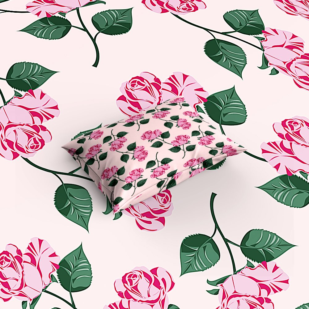 Libaoge 4 Piece Bed Sheets Set, Romantic Pink Purple Roses Design Pink Floral Print, 1 Flat Sheet 1 Duvet Cover and 2 Pillow Cases by Libaoge (Image #3)