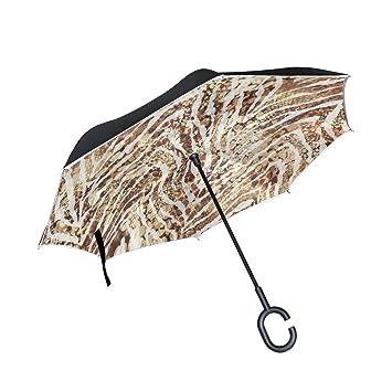 jstel doble capa auxiliar vintage Zebra Spots paraguas coches Reverse resistente al viento lluvia paraguas para