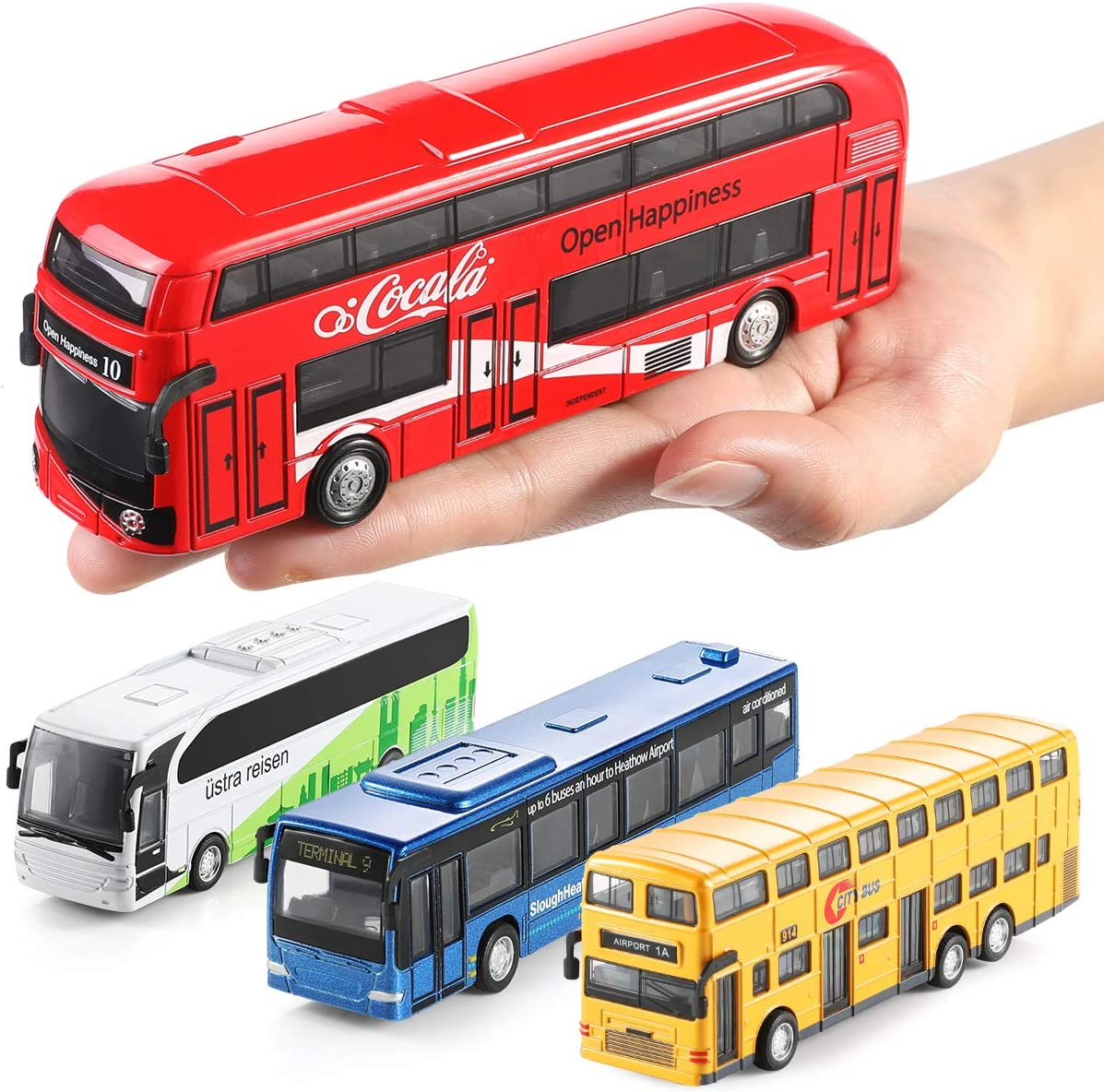 Geyiie Pull Back Bus Die cast Metal Toys Cars Set of 4 Colors Push Go Friction Powered Cars Mini Bus Coach Collection Model Gifts for Toddler Boys