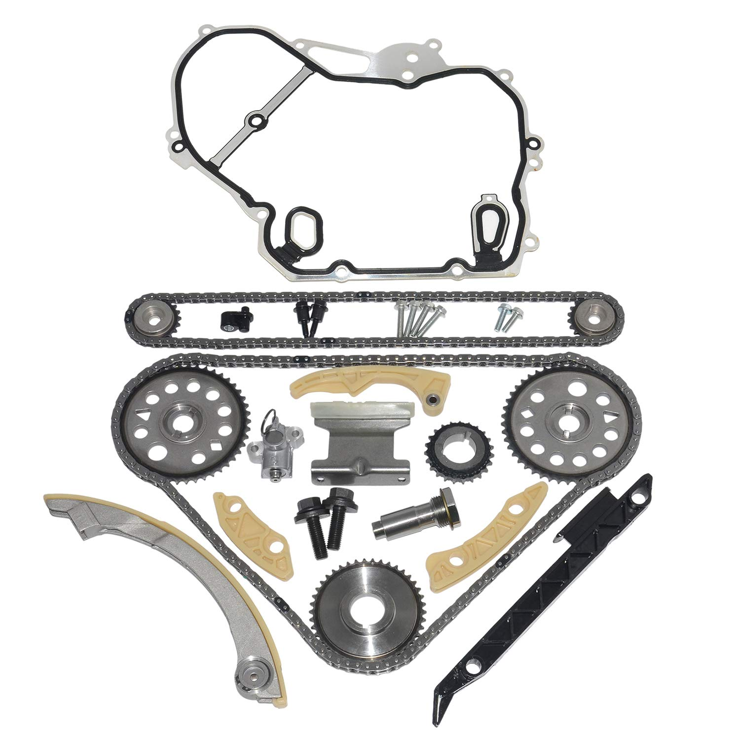12788929 24461834 Timing Chain+Gear+Guide+Tensioner Kit+Cover Gasket Kit Compatible For BUICK Chevrolet SATURN Pontiac 2.0L 2.2L 2.4L