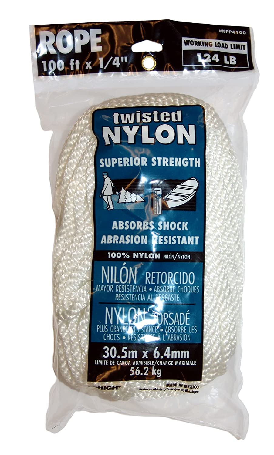 1//4 x 100 Lehigh Group NPP4100W-P Twist Nylon Rope