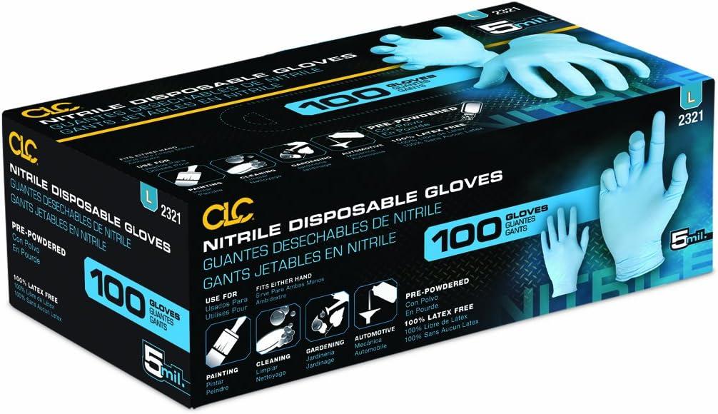 Custom Leathercraft 2321M 5 Mil Nitrile Disposable Glove 100 Per Box Medium