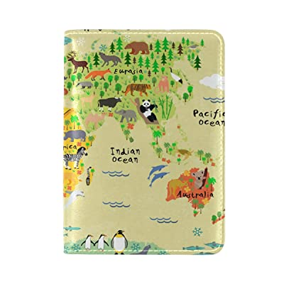 PU Leather Passport Holder Cover Case with Cartoon Animal Map Travel One Pocket hot sale 2017