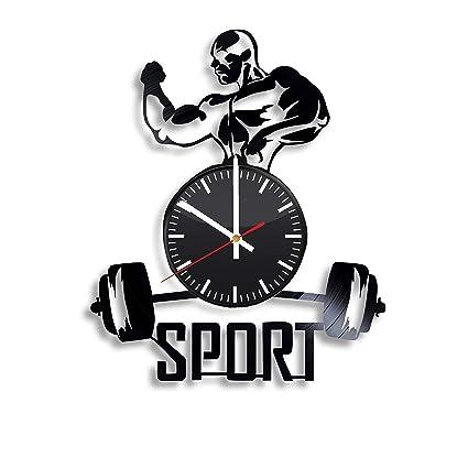 Amazon.com: sport gym vinyl wall clock fitness art handmade gift