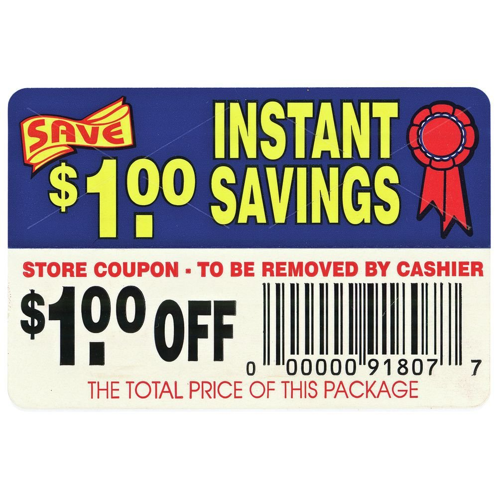Coup on Labels $1.00 Off Instant Savings - 3' L x 2' H 250 Per Roll BOLLIN LABEL AND CO