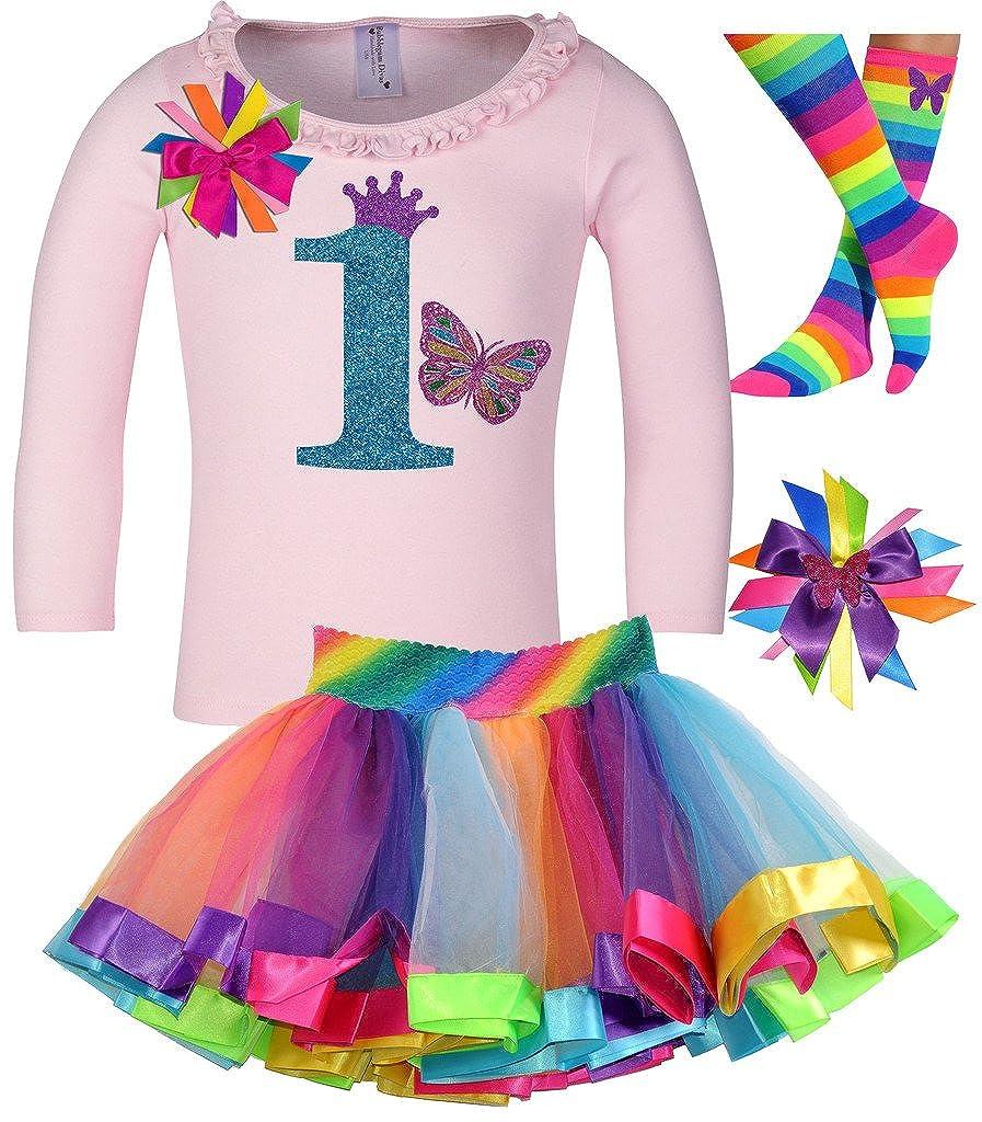Bubblegum Divas Baby Girls 1st Birthday Butterfly Shirt Rainbow Tutu Socks Hair Bow 4pc Outfit