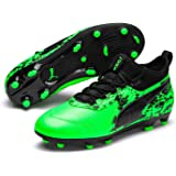 PUMA Boys ONE 19.3 FG/AG JR Football Boots, Green Gecko Black-Charcoal