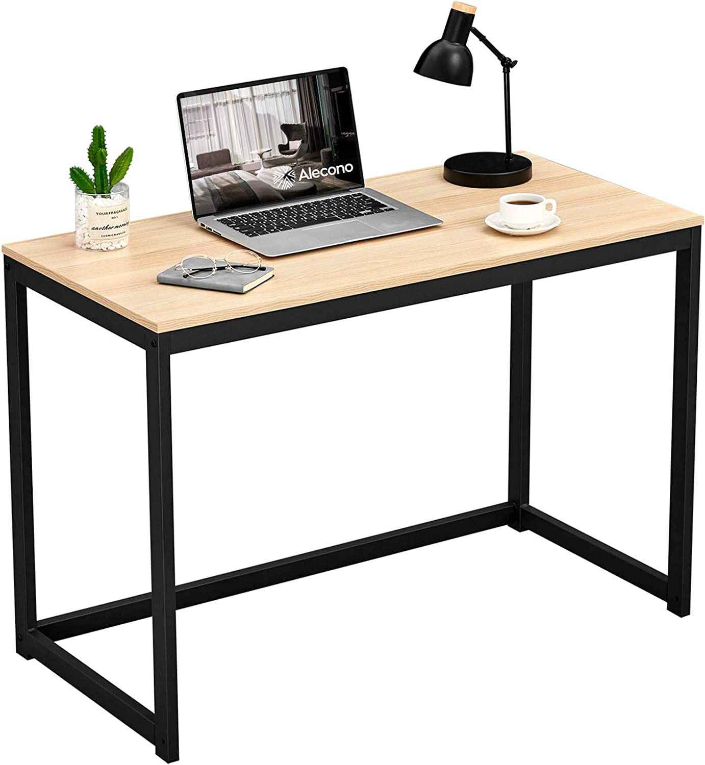 Alecono 39 inch Small Home Office Desk Study Writing Desk for Small Space Simple Home Workstation Office Tiny Desk Student PC Gaming Table with Metal Frame Oak