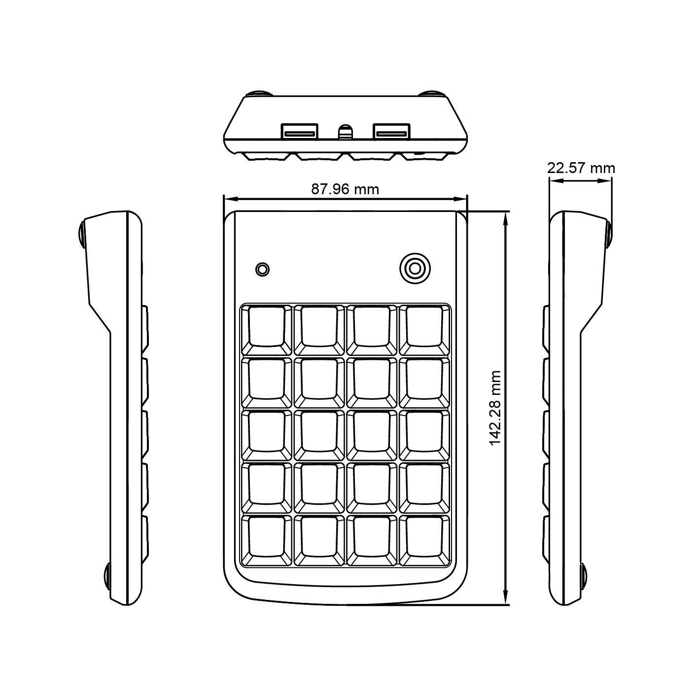 Big stampare lettere Tastierino numerico Perixx PERIPAD-201B Nero USB Full Size 19 Keys