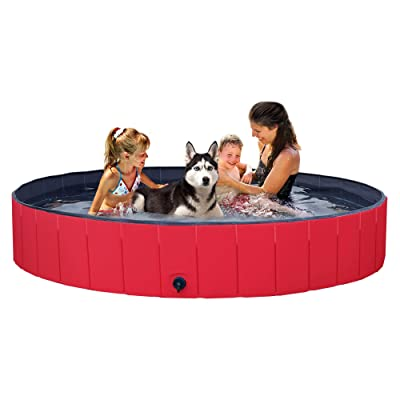 YAHEETECH Red Foldable Hard Plastic Kiddie Baby Large Dog Pet Bath Swimming Pool Collapsible Dog Pet Pool Bathing Tub Kiddie Pool