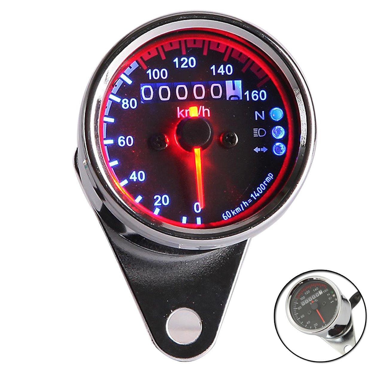 INNOGLOW 1x Universal LED Backlit Motorcycle Tachometer 0-16, 000RPM DC 12V Fit for Honda Harley Suzuki Kawasaki Yamaha