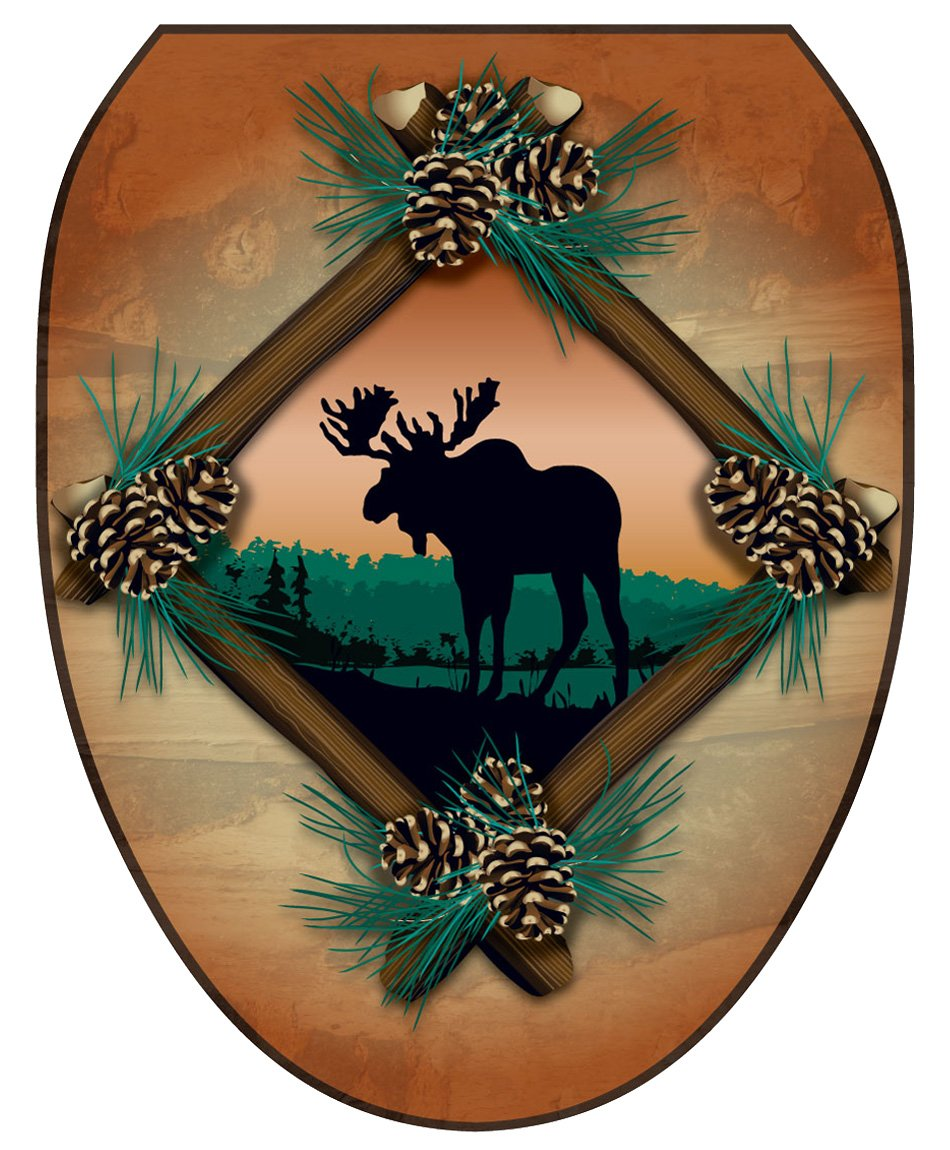 Elongated Toilet Tattoos TT-1888-O Moose At Sunset Decorative Applique for Toilet Lid