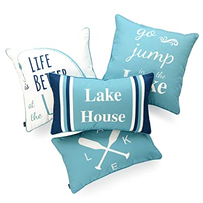 "Hofdeco Lake House Indoor Outdoor Pillow Cover ONLY, Water Resistant for Patio Lounge Sofa, Aqua Navy White Life Better Go Jump in Lake, 18""x18"" 12""x20"", Set of 4 : Garden & Outdoor"