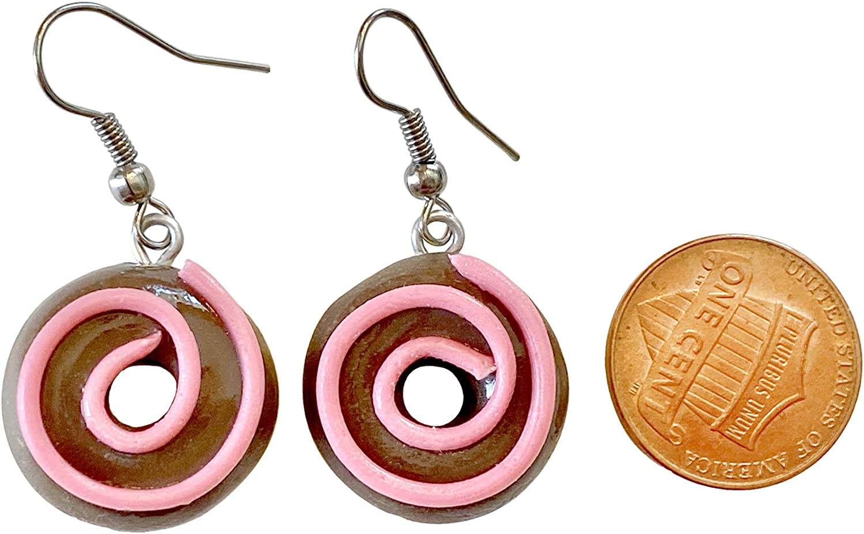 Sunne Tropical Handmade Doughnut Earrings | Food Miniature 3D Colorful Donut Drop Dangle Jewelry | Girls Teen | made with Polymer Thai Clay pack in RANDOM COLOR Giftbox Chocolate Swirl