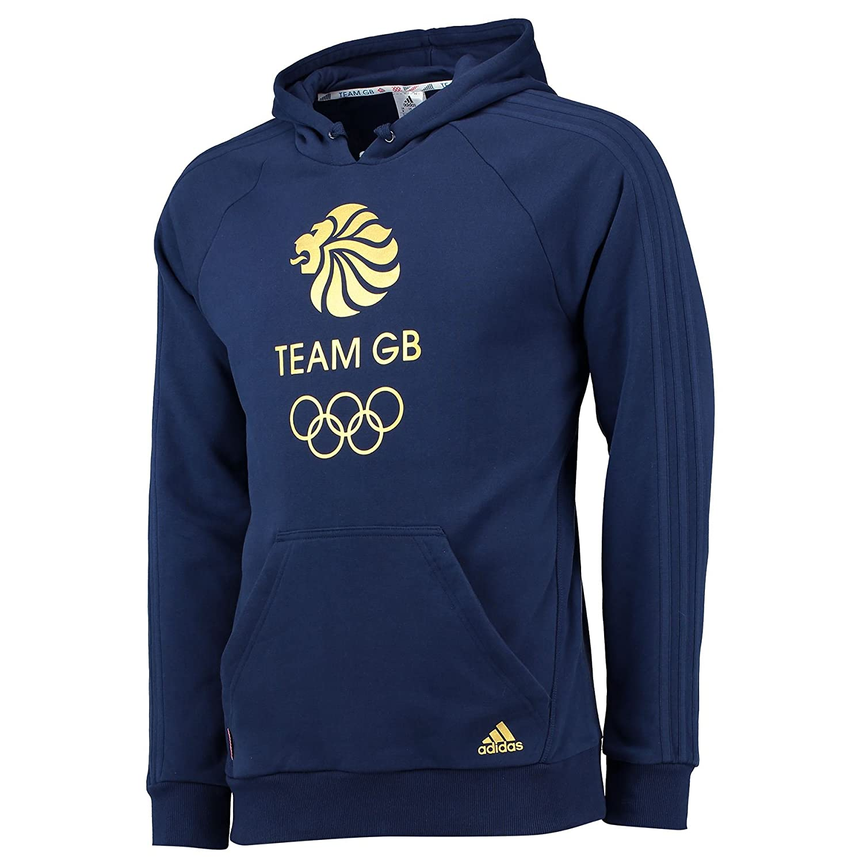 adidas Mens Gents Team GB Big Logo Hoodie Hoody Hooded Top - Night Indigo/Gold