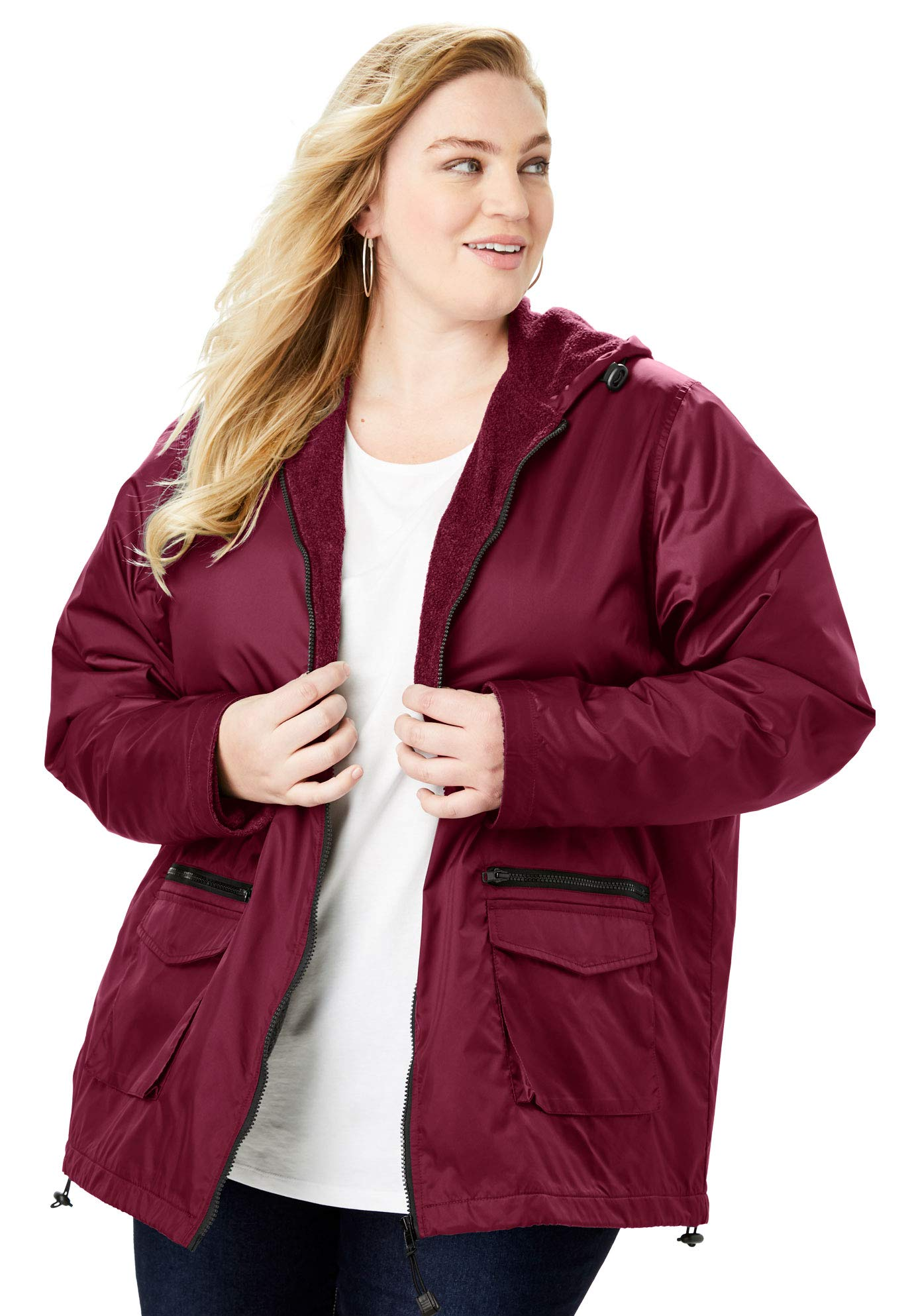 Roamans Women's Plus Size Hooded Jacket with Fleece Lining - Merlot, 2X by Roamans