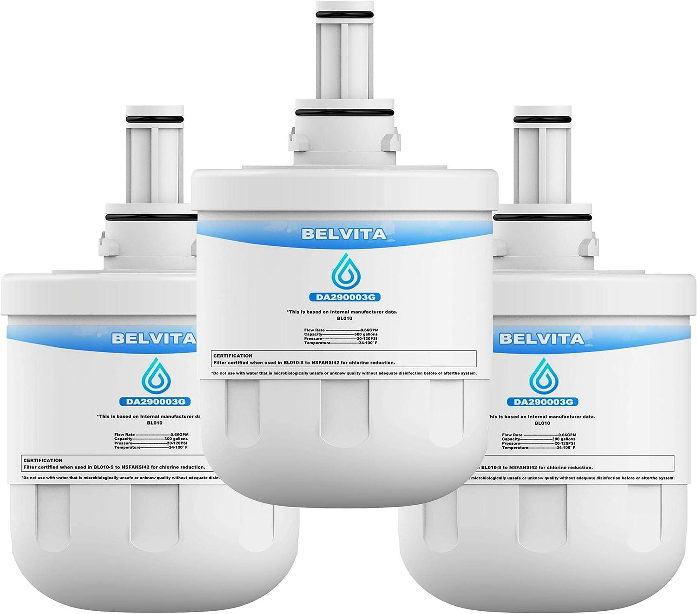 BELVITA DA29-00003G Refrigerator Water Filter, NSF 42 Certified to Reduce 99% Lead, Compatible with Samsung DA29-00003G, DA29-00003B, Aqua-Pure Plus, HAFCU1 Filter (Pack of 3)
