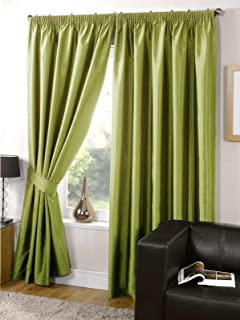 Faux Silk Curtains Fully Lined Plain Lime Green Pencil Pleat Tape Top Bedroom Living Room