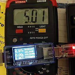 blendx Digital USB testeur LED Charge m/édecin Courant de Tension Compteur d/étecteur de Puissance Bleu