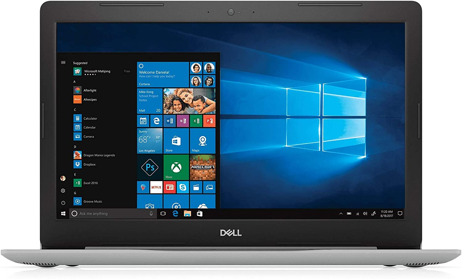 "Dell Inspiron 15 5000 Series 15.6"" HD Laptop, Intel Core i7-7500U, 20GB Memory (4GB DRAM + 16GB Intel Optane Memory), 1TB HDD, Windows 10 - Silver - i5570-7987SLV"