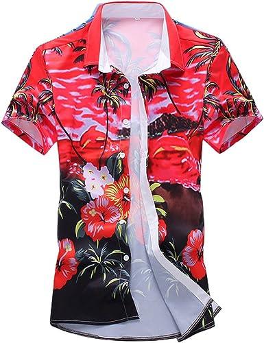 WanYangg Hombre Hawaianas Vintage Camisas Casual Manga Corta ...