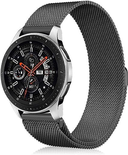 Fintie Correa para Samsung Galaxy Watch 46mm / Gear S3 Classic/Gear S3 Frontier - [Cierre Única del Imán] 22mm Pulsera de Repuesto de Acero Inoxidable Ajustable Banda, Negro: Amazon.es: Informática