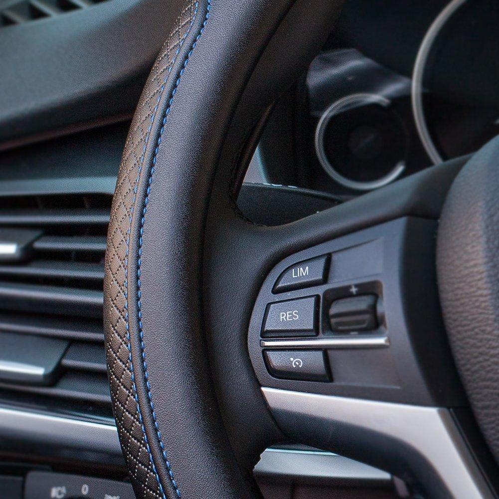 ECLEAR Elegante funda de piel de microfibra para volante de coche, universal, 38 cm, protector para coche/camión/furgoneta, transpirable, acolchado suave, ...