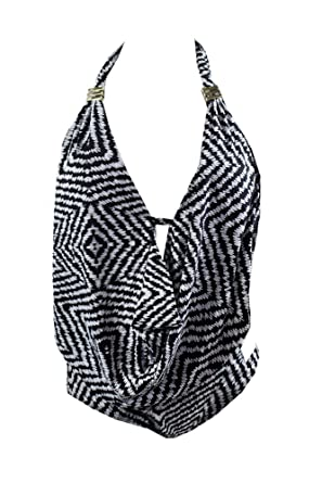 32f1215fb0d7b Image Unavailable. Image not available for. Color: Bar III Feather Daze  Draped One-Piece Swimsuit ...