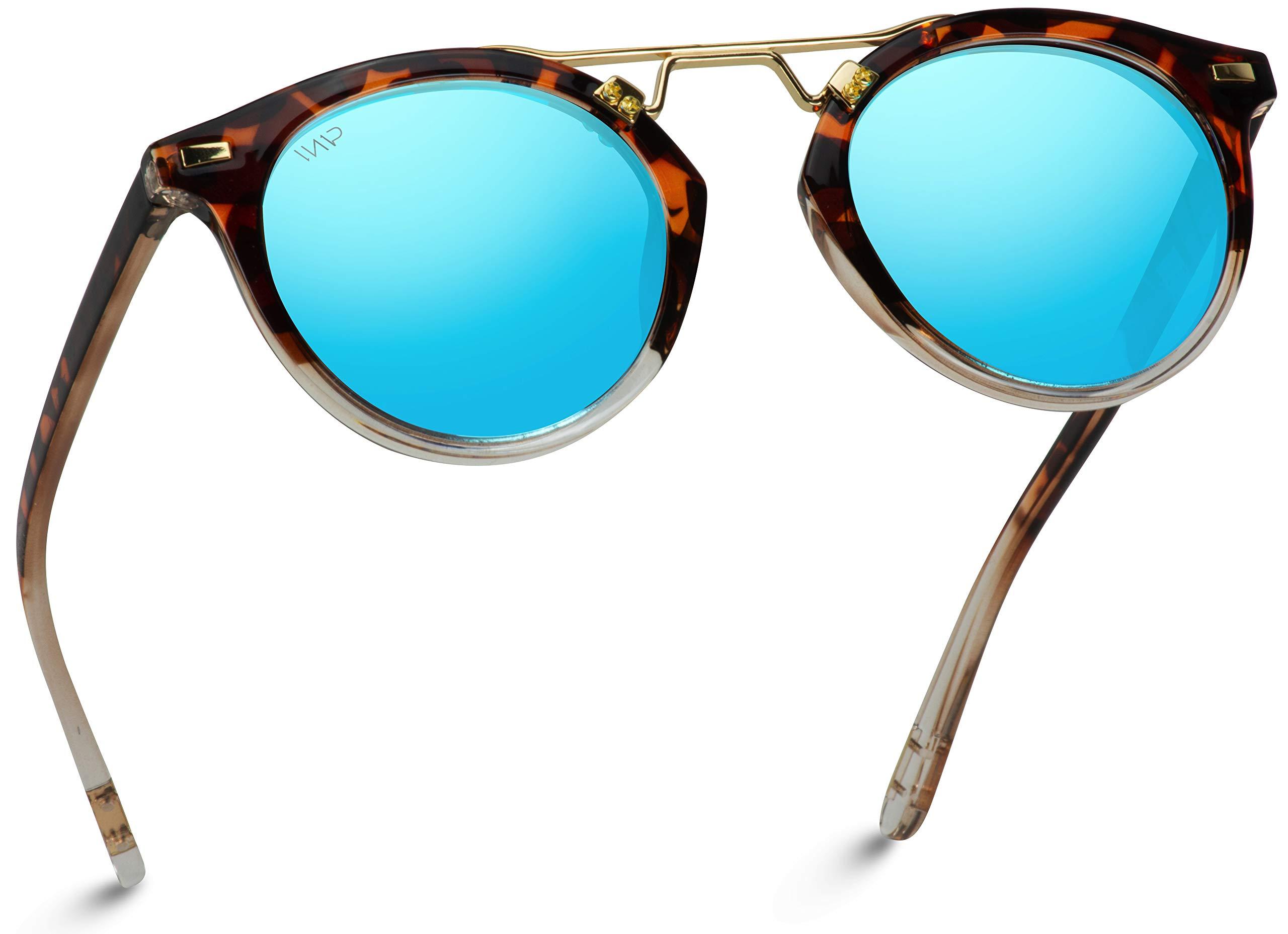 WearMe Pro - Polarized Round Vintage Retro Mirrored Lens Women Metal Frame Sunglasses by WearMe Pro