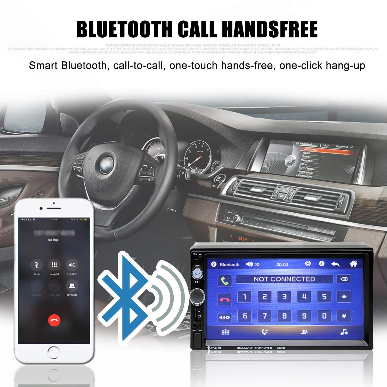 Double Din Car Stereo in-Dash Bluetooth Touch Screen 7 inch with Rear-View Camera,Video MP5/4/3 Player, Radio FM, Car Stereo Receiver, Support Steering Wheel Remote Control, Mirror Link, Caller ID by Yakalla (Image #4)