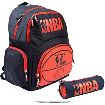 Lot mochila 2 compartimentos NBA gráfica + 1 estuche redondo a juego + 1 bolígrafo blumie: Amazon.es: Equipaje