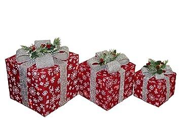 Ensemble De 3 Paquets Cadeaux Lumineux De Noël En Sisal Rouge Avec