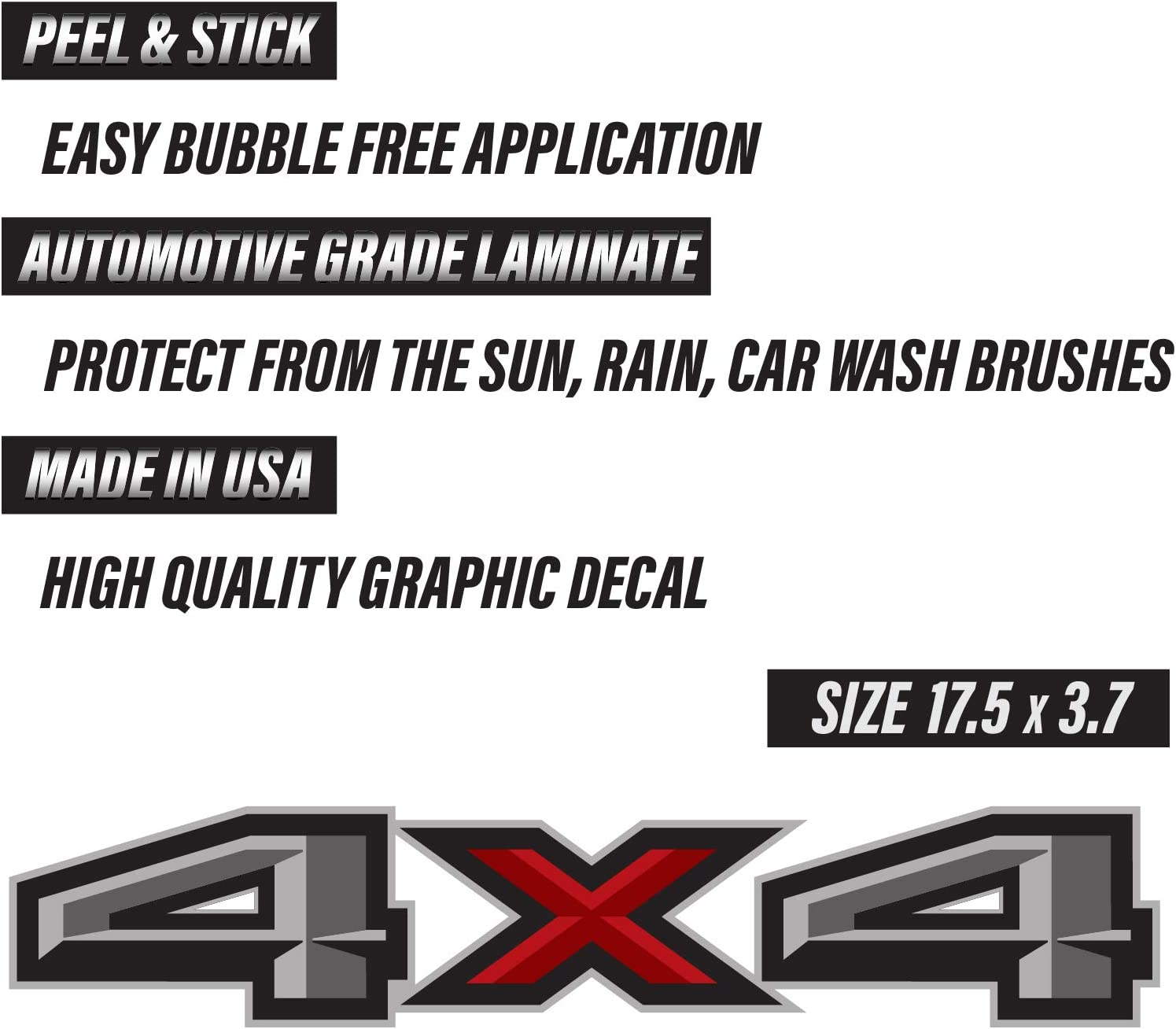 "FX4 Off Road Truck Bed Stickers Decal Set For 2015-2018 Ford F150 17/""X4/"" GREY"