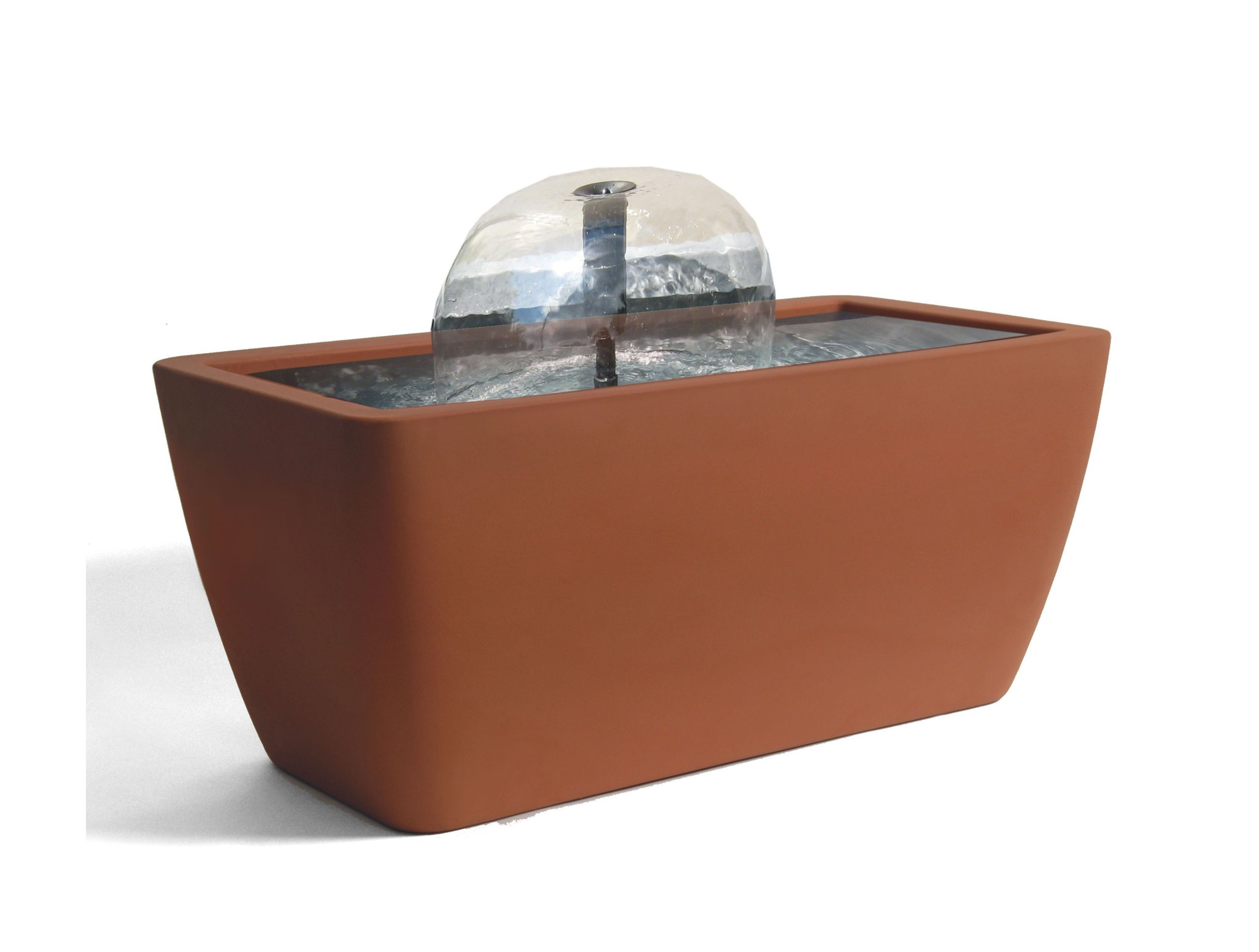 Algreen Manhattan Contemporary Terra Cotta Patio and Deck Pond Water Feature Kit with Light, 50-Gallon