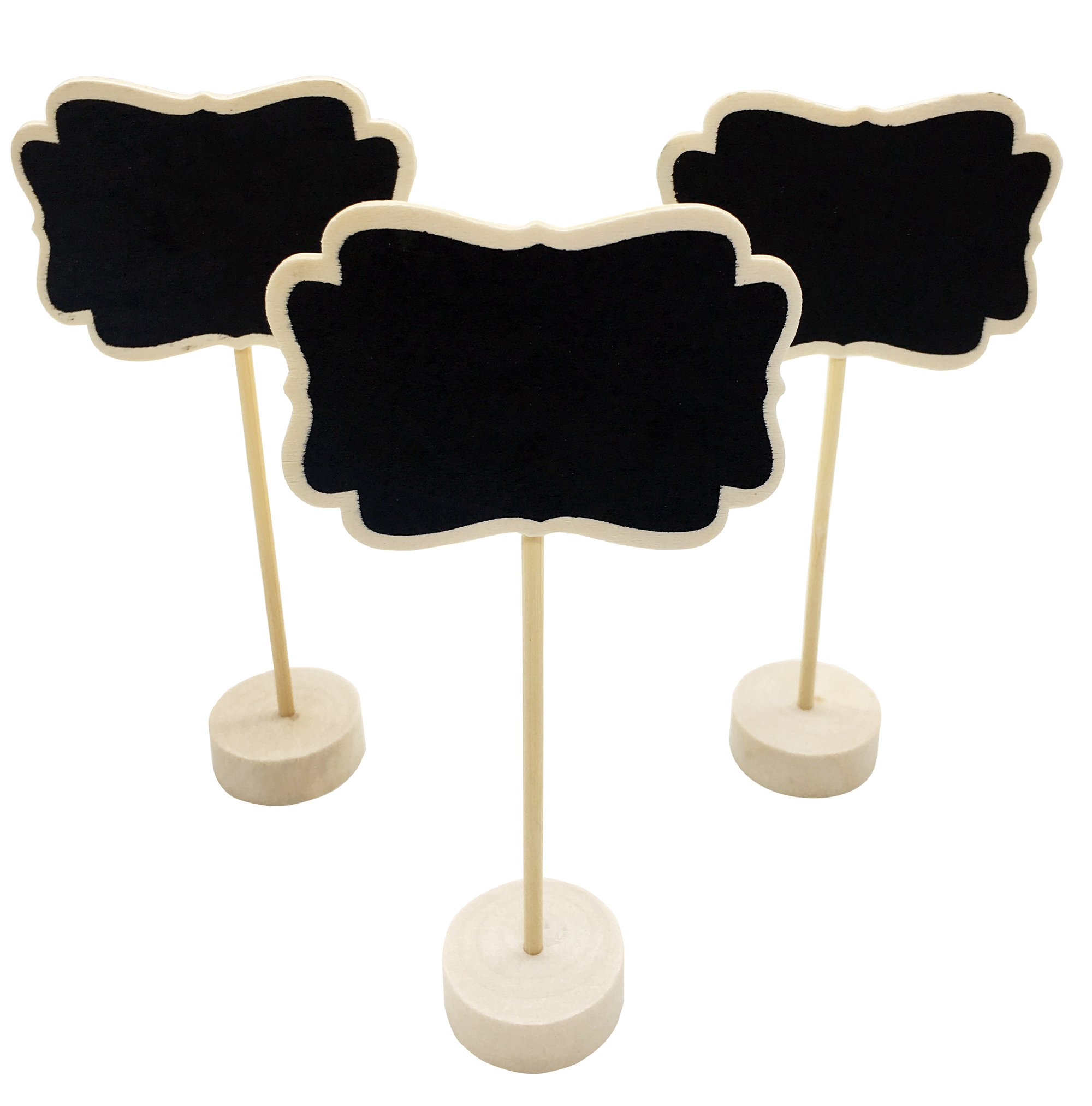 12 PACK Mini Chalkboards Stands for Message Board Signs Small Chalkboard Signs for Food Wedding Table Numbers Party Name Place Card Decorative Chalkboards Set Wet Towel Wip Off (Black-B)