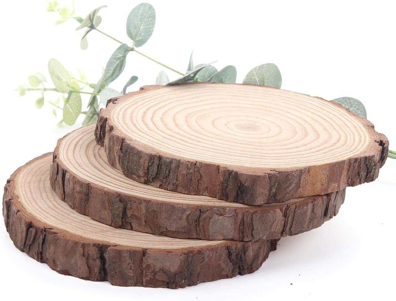 "Natural Pine Wood Slabs Untreated 6-7 inches Diameter x 3/5"" Thick Large 3 Pieces Solid Wood Slices for Weddings, Table Centerpieces, DIY Projects or Decoration"