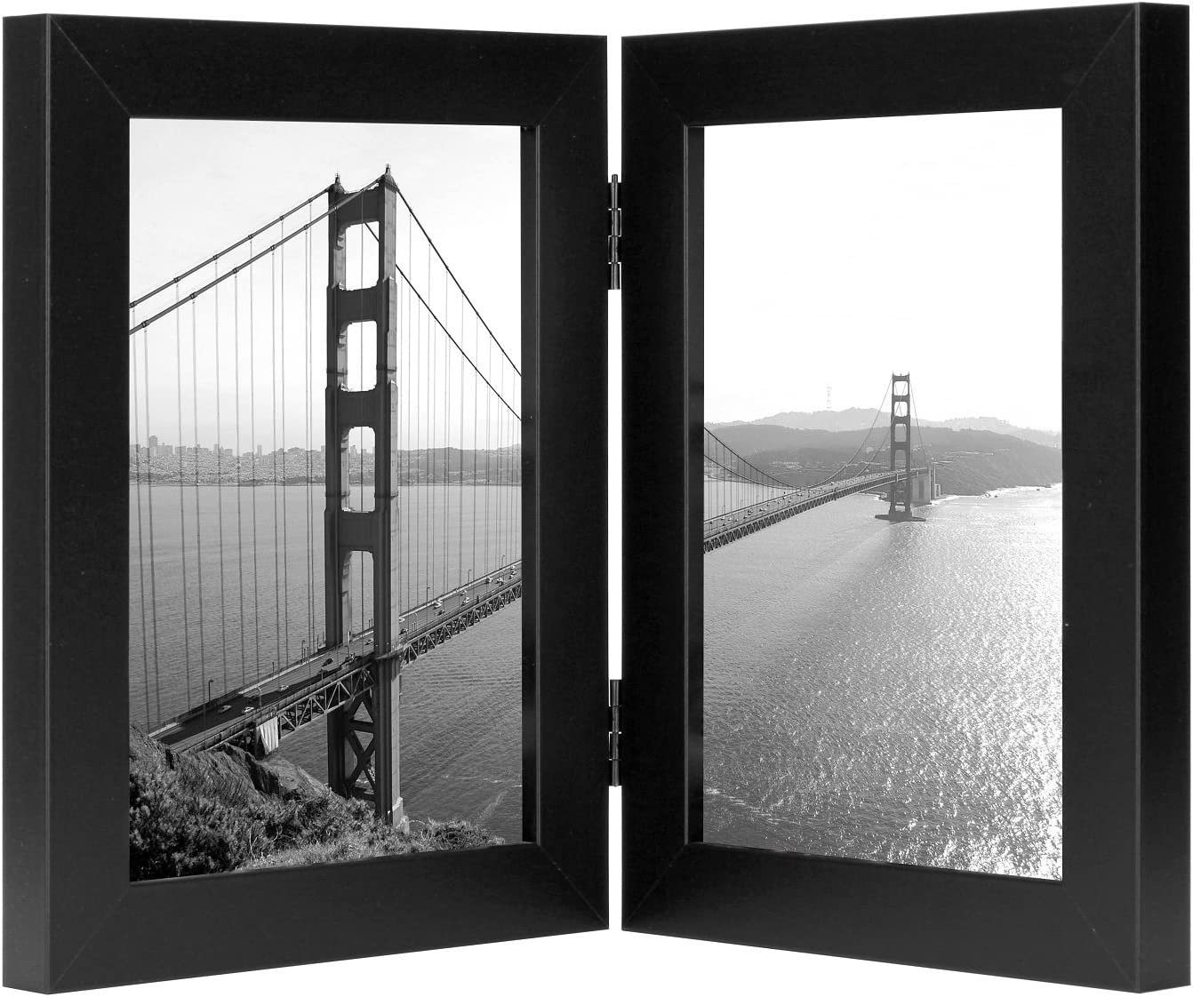 Frametory, 5x7 Inch Hinged Picture Frame - Displays Two 5x7 Inch Pictures, Stands Vertically on Desktop or Table Top (5x7 Double, Black)