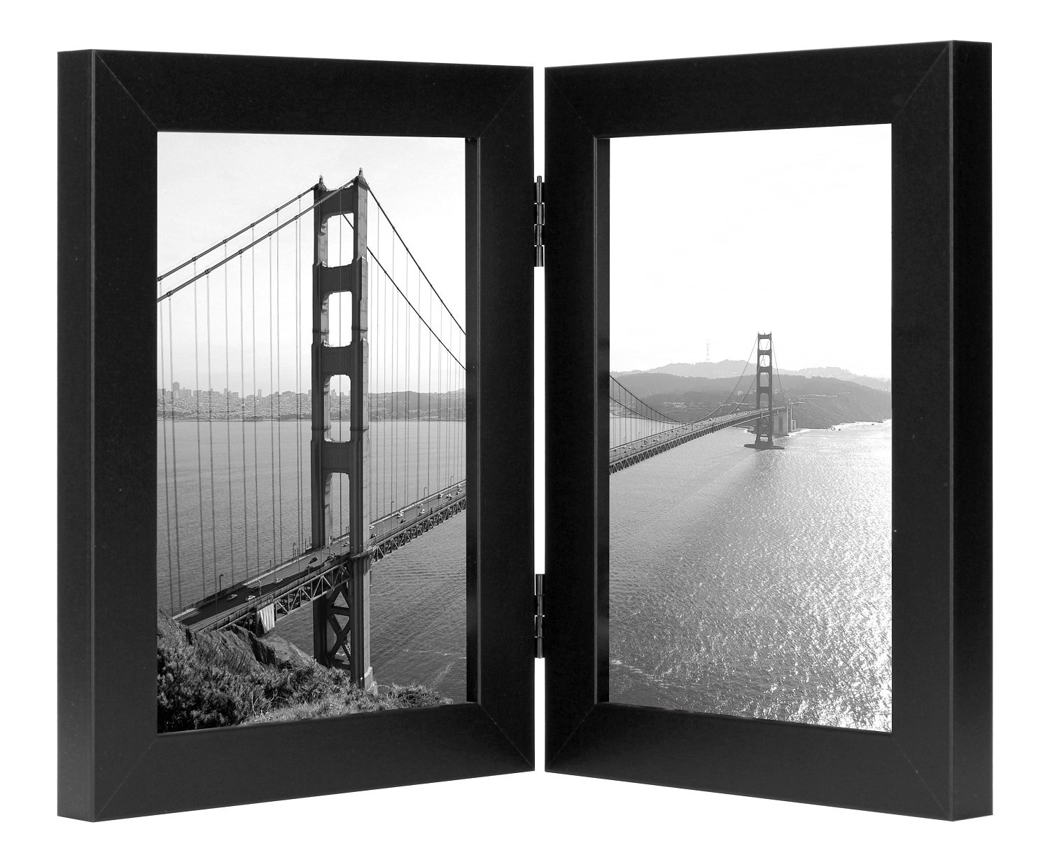 Frametory, 5x7 Inch Hinged Picture Frame - Displays Two 5x7 Inch Pictures, Stands Vertically on Desktop or Table Top (5x7 Double, Black) - DESIGN: Black hinged frame with sturdy hinges to provide support. Elegantly displays two 5x7 inch pictures side-by-side. The frame is made with a thick 2mm glass front that can be removed and polished. USE AND DISPLAY: Frame set holds two photos side by side. Stands on a desk or tabletop, perfect for a home or office. Excellent way to display memories, important reminders or collage photos. QUALITY: Sturdy frame made to last. Clear glass front preserves and protects your photos. The frame is made from high quality MDF and polished so the corners are not visible. - picture-frames, bedroom-decor, bedroom - 71X0T7vyhwL -