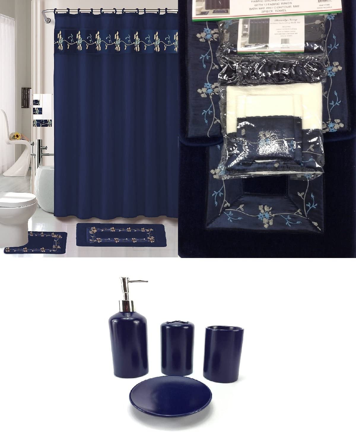 10 Piece Bath Accessory Set Navy Blue Flower Bathroom Rug Set + Shower  Curtain & Accessories
