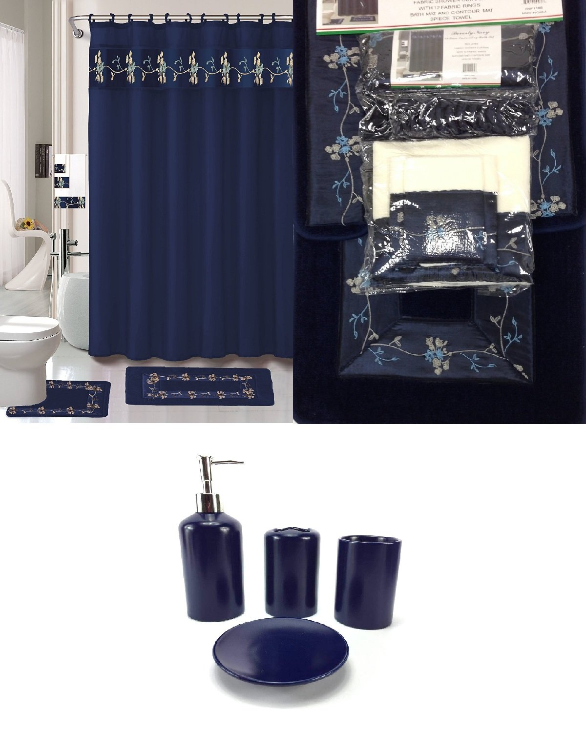 Amazon.com: 22 Piece Bath Accessory Set Navy Blue Flower Bathroom ...