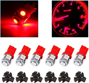 OCPTY 6Pack Red T10 194 LED Light Bulb LED Bulbs Bright Instrument Panel Gauge Cluster Dashboard LED Light Bulbs with Twist Lock Socket Instrument Panel Gauges Light