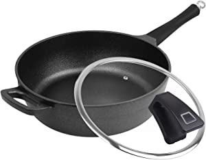 Fry Pan Nonstick Cookware, Deep Frying Pan Induction Pan Skillet Pan with Lid PFOA Free, Dishwasher Safe, 5 Quart